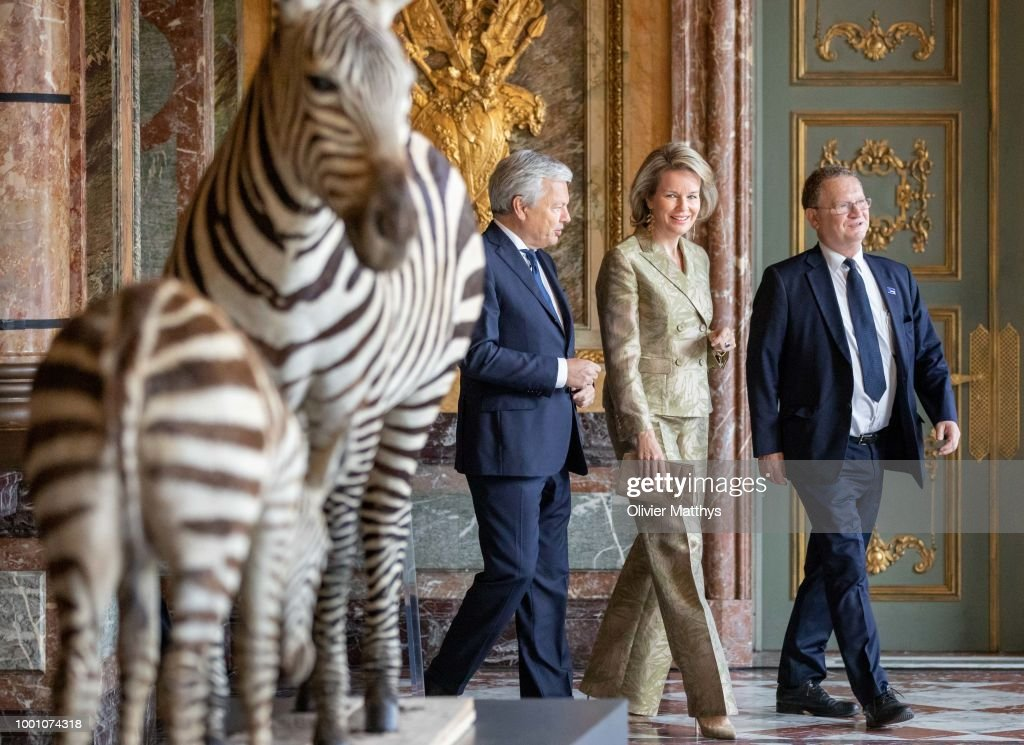 Queen Mathilde Of Belgium Attends Africa Museum At Egmont Palace Exhibition In Brussels