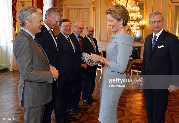 Queen Mathilde of Belgium greets members of the European Union on January 10 2014 in Brussels Belgium