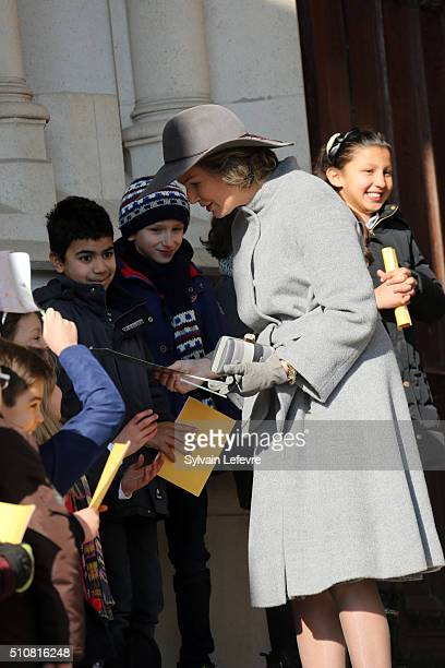 Queen Mathilde of Belgium is pictured as she leaves a mass at Notre Dame Church in Laeken on February 17, 2016 in Laeken, Belgium.