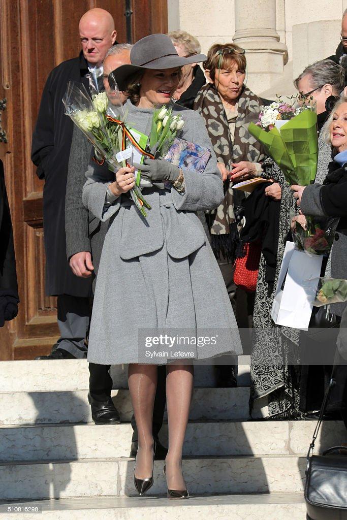 Belgium Royal Family Attends A Mass At Notre Dame Church In Laeken : News Photo