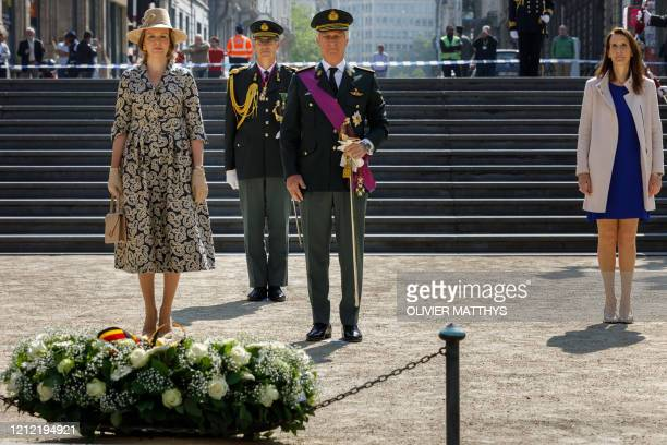 Queen Mathilde of Belgium , King Philippe - Filip of Belgium and Belgian Prime Minister Sophie Wilmes attend during a ceremony to commemorate the...
