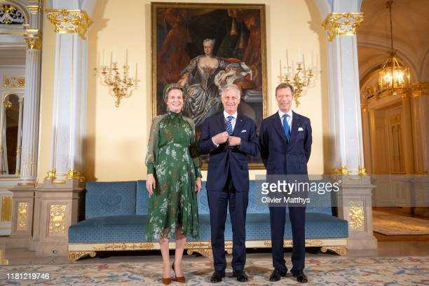 Queen Mathilde of Belgium King Philippe of Belgium and Henri Grand Duke of Luxembourg pose during the State Visit to Luxembourg on October 15 2019 in...