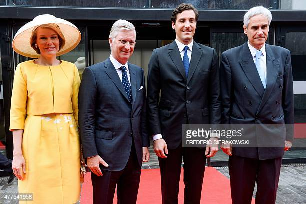 Queen Mathilde of Belgium King Philippe of Belgium and Prince JeanChristophe Napoleon Bonaparte pose upon arrival to Memorial 1815 during a ceremony...