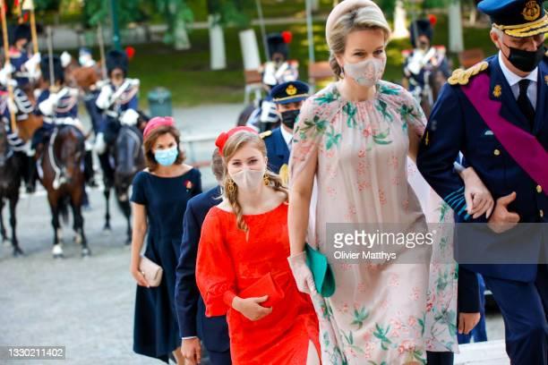 Queen Mathilde of Belgium, King Philippe of Belgium and Princess Elisabeth of Belgium attend the Te Deum mass in the Saint-Michael and Gudule...