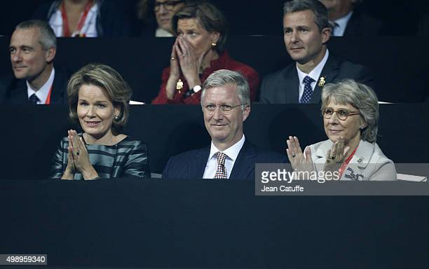 Queen Mathilde of Belgium King Philippe of Belgium and The Duchess of Gloucester attend the first singles match between David Goffin of Belgium and...
