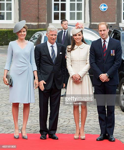 Queen Mathilde of Belgium King Philippe of Belgium Catherine Duchess of Cambridge and Prince William Duke of Cambridge arrive at the SaintLaurent...