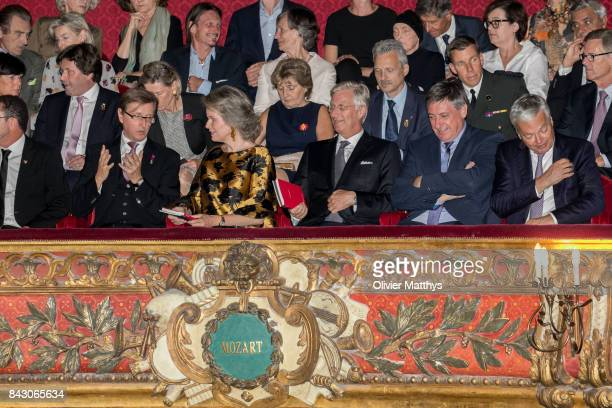 Queen Mathilde of Belgium King Philippe of Belgium Interior Minister of Belgium Jan Jambon and Foreign Minister of Belgium Didier Reynders attend the...
