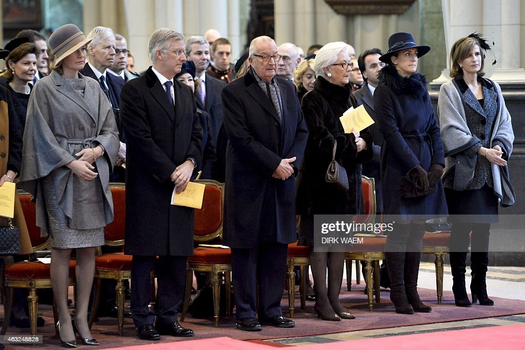 Queen Mathilde of Belgium, King Philippe of Belgium, King Albert II of Belgium, Queen Paola of Belgium, Princess Claire of Belgium and Princess Marie Esmeralda of Belgium attends during a mass to commemorate the deceased members of the Belgian Royal Family, at the Onze-Lieve-Vrouwkerk - Eglise Notre-Dame church in Laeken-Laken, on February 12, 2015 in Brussels.
