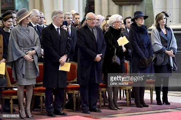 Queen Mathilde of Belgium, King Philippe of Belgium, King Albert II of Belgium, Queen Paola of Belgium, Princess Claire of Belgium and Princess Marie...