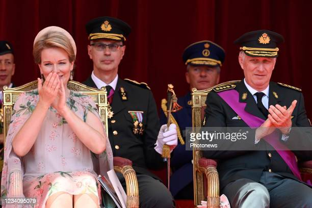 Queen Mathilde of Belgium, King Philippe of Belgium pictured during the National Parade for the Belgian National Day. July 21, 2021 in Brussels,...