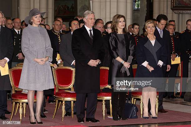 Queen Mathilde of Belgium, King Philippe of Belgium, Princess Esmeralda of Belgium and Princess Lea of Belgium attend a mass at Notre Dame Church in...