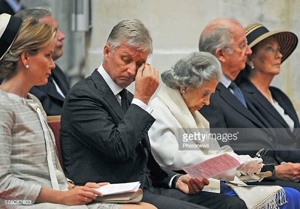 Queen Mathilde of Belgium King Philippe of Belgium Queen Fabiola of Belgium King Albert ll of Belgium and Queen Paola of Belgium attend the special...