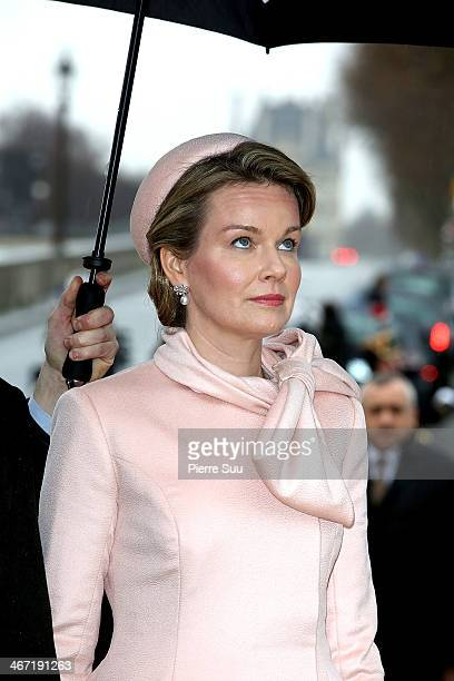 Queen Mathilde Of Belgium Lays a wreath at the foot of the statue of King Albert I on a one day official visit to Paris on February 6 2014 in Paris...