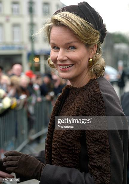 Queen Mathilde of Belgium leaves a mass for the deceased of the Royal Family on February 18 2014 in Brussels Belgium