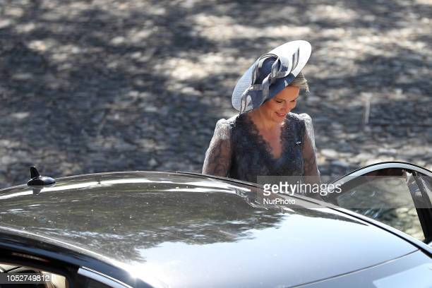 Queen Mathilde of Belgium leaves after the meeting with Portugal's President Marcelo Rebelo de Sousa at the Belem Palace in Lisbon on October 22 in...