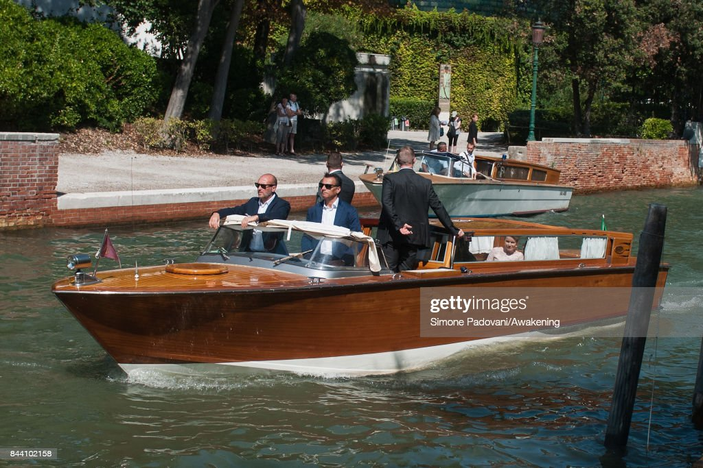 Queen Mathilde of Belgium leaves the Giardini area of the 57 International Art Biennale in Venice on September 8, 2017 in Venice, Italy.