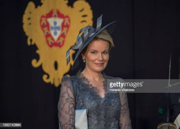 Queen Mathilde of Belgium listens to words by Portuguese President Marcelo Rebelo de Sousa and King Philippe of Belgium in Belem Presidential Palace...