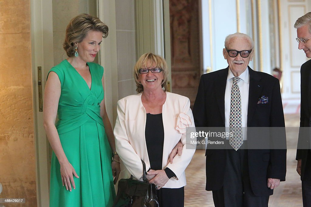 Queen Mathilde of Belgium, Madame Thielemans and Baron Toots Thielemans pose for a picture at Laeken Castle on May 6, 2014 in Brussels, Belgium.