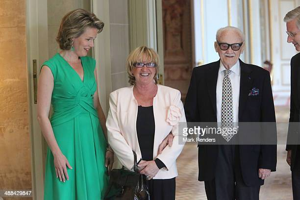 Queen Mathilde of Belgium Madame Thielemans and Baron Toots Thielemans pose for a picture at Laeken Castle on May 6 2014 in Brussels Belgium