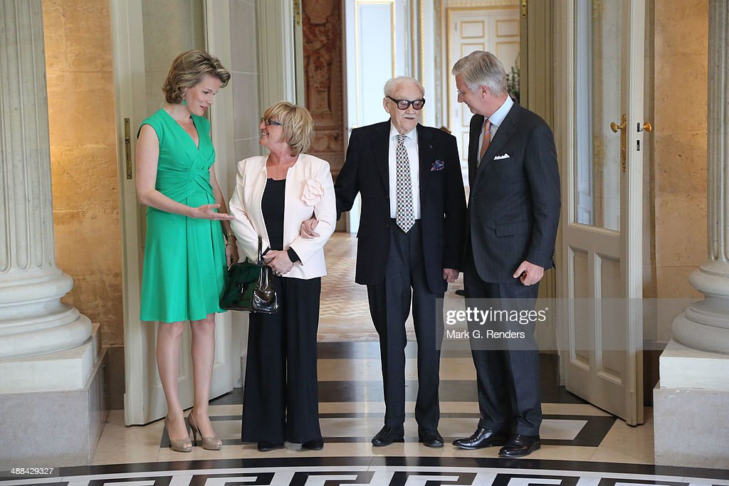 Queen Mathilde of Belgium, Madame Thielemans, Baron Toots Thielemans and King Pilippe of Belgium pose for a picture at Laeken Castle on May 6, 2014 in Brussels, Belgium.