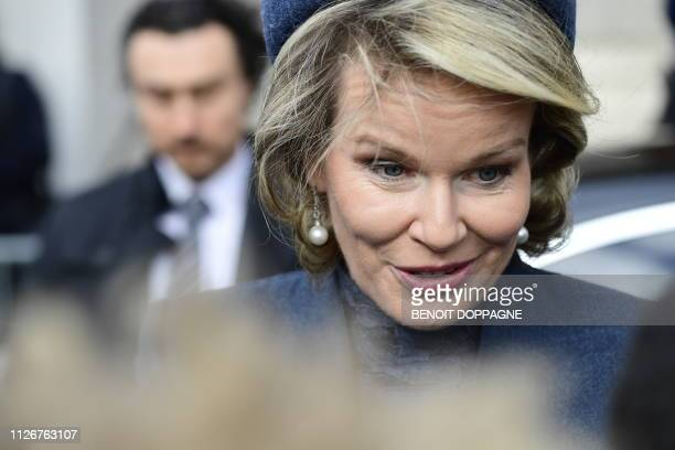 Queen Mathilde of Belgium meets citizens after a special Mass to commemorate the deceased members of the Belgian Royal Family at the...