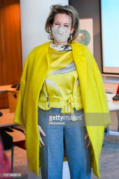Queen Mathilde of Belgium pictured during a round-table on the clothing sector organised by Comeos in presence of Belgian Queen, in Brussels, Tuesday...