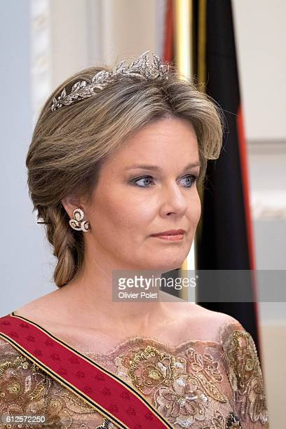 Queen Mathilde of Belgium pictured during a royal dinner at the Royal Castle in Laken - Laeken, Brussels, part of a state visit of German President...