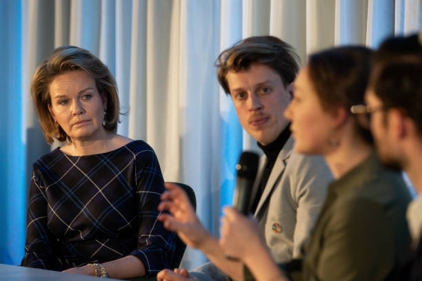 Queen Mathilde of Belgium pictured during a royal visit to an event organised by Antwerp Management School students in Antwerp Thursday 20 February...