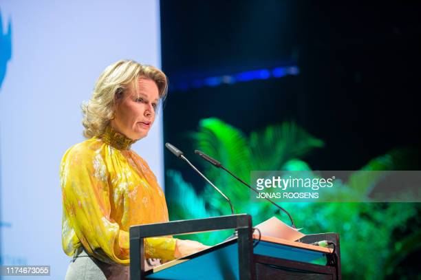 Queen Mathilde of Belgium pictured during a royal visit to the 60th Colloquium at the Institute of Tropical Medicine in Antwerp, Wednesday 09 October...