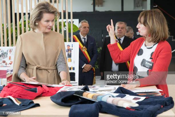 Queen Mathilde of Belgium pictured during a visit of Belgian Queen in Liege province, Wednesday 15 January 2020. The Queen visits the clothes brand...