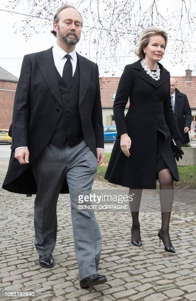 Queen Mathilde of Belgium pictured during the funeral service for Count Philippe de Lannoy at FrasnesLezAnvaing Wednesday 16 January 2019 The Count...