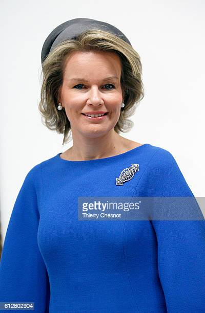 Queen Mathilde of Belgium poses at the Centre Pompidou modern art museum on October 5 2016 in Paris France Queen Mathilde visits the exhibition 'La...