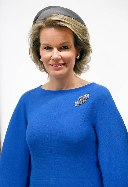 queen mathilde of belgium visits the magritte exhibition at cnetre pompidou in paris photos and. Black Bedroom Furniture Sets. Home Design Ideas