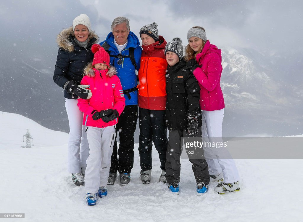 Queen Mathilde of Belgium, Princess Eleonore, King Philippe of Belgium, Prince Gabriel, Prince Emmanuel and Princess Elisabeth pose during their ski holidays on February 12, 2018 in Verbier, Switzerland.