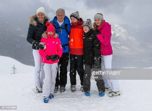 Queen Mathilde of Belgium Princess Eleonore King Philippe of Belgium Prince Gabriel Prince Emmanuel and Princess Elisabeth pose during their ski...