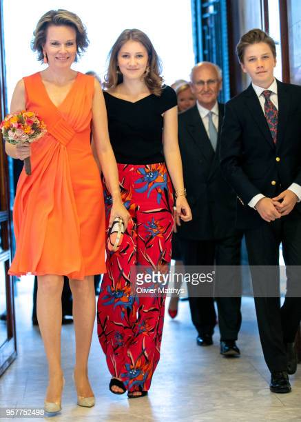 Queen Mathilde of Belgium Princess Elisabeth and Prince Gabriel attend the finals of the Queen Elisabeth Contest in the Bozar on May 12 2018 in...