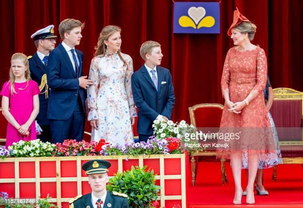 Queen Mathilde of Belgium Princess Elisabeth of Belgium and Prince Gabriel of Belgium attend the military parade during Belgian National Day on July...
