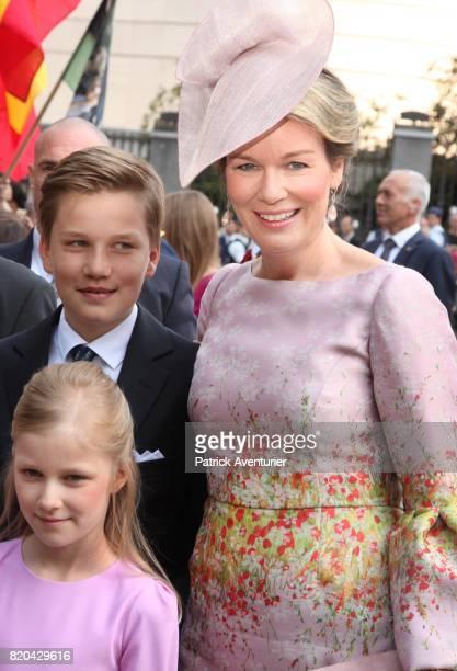 Queen Mathilde of Belgium Princess Elisabeth of Belgium Prince Gabriel of Belgium Prince Emmanuel of Belgium and Princess Eleonore of Belgium attend...