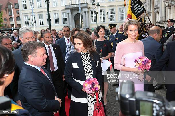 Queen Mathilde of Belgium Queen Rania of Jordan King Philippe Filip of Belgium and King Abdullah II of Jordan are welcomed at the Town Hall during a...
