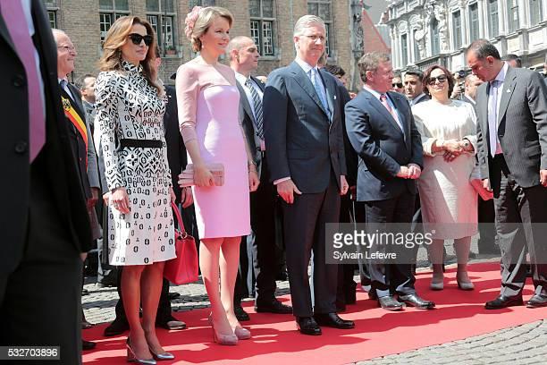 Queen Mathilde of Belgium Queen Rania of Jordan King Philippe Filip of Belgium and King Abdullah II of Jordan listen to jordan musicians during a...