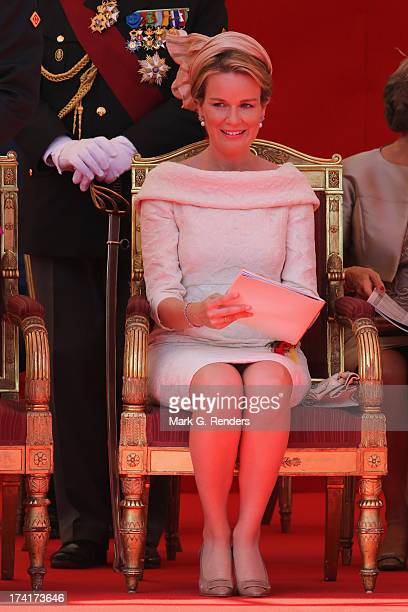 Queen Mathilde of Belgium seen during Civil and Military Parade during the Abdication Of King Albert II Of Belgium Inauguration Of King Philippe on...