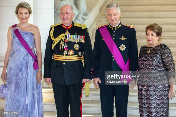 Queen Mathilde of Belgium Sir Peter Cosgrove Governor General of the Commonwealth of Australia King Philip of Belgium and HE Lady Cosgrove pose for...