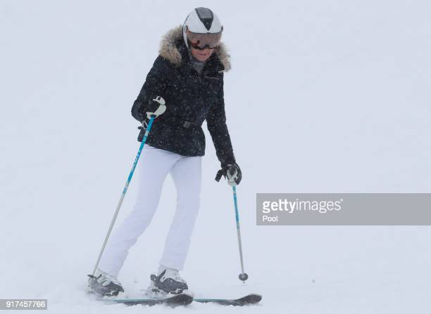 Queen Mathilde of Belgium skies during family skiing holidays on February 12 2018 in Verbier Switzerland