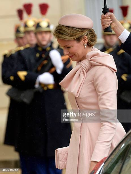 Queen Mathilde of Belgium smiles during an official visit at Elysee Palace on February 6 2014 in Paris France