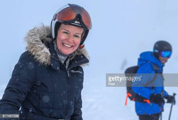 Queen Mathilde of Belgium smiles during family skiing holidays on February 12 2018 in Verbier Switzerland