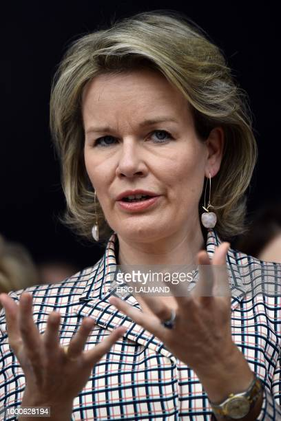 Queen Mathilde of Belgium speaks during a royal visit to the 'Eurogym 2018' biannual European Gymnastics festival for 12 to 18 year olds on July 17...