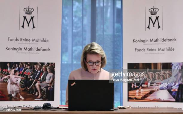 Queen Mathilde of Belgium speaks with the written press during a virtual interview on the occasion of the 20th anniversary of the Queen Mathilde Fund...