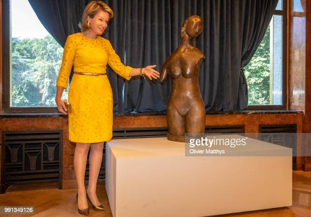 Queen Mathilde of Belgium shoe detail during a visit to the Art Deco Exhibition Melancholia at the Villa Empain on July 4 2018 in Brussels Belgium