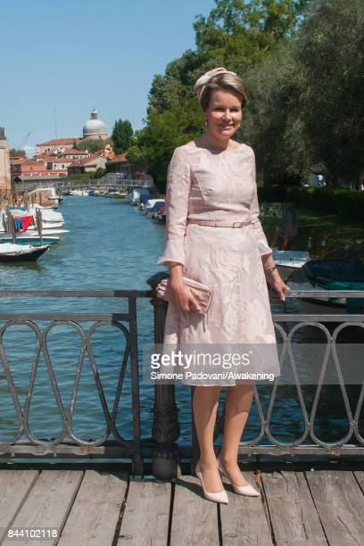 Queen Mathilde of Belgium visits the 57 International Art Biennale at Giardini area in Venice on September 8 2017 in Venice Italy