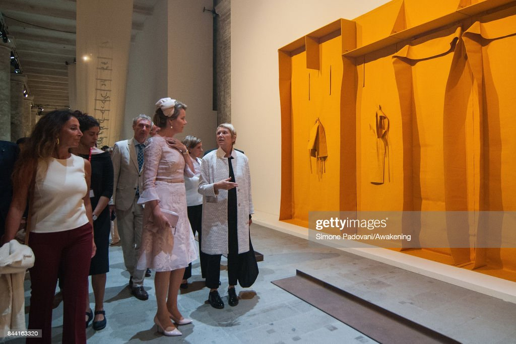 Queen Mathilde of Belgium visits the Arsenale area of the 57 International Art Biennale in Venice on September 8, 2017 in Venice, Italy.